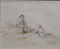 Two Figures, One Laying & One Seated, 1882